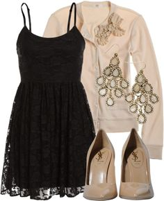 """Black & Nude"" by qtpiekelso on Polyvore"
