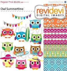 80% OFF SALE Owl Summertime 07468.. Commercial use by revidevi