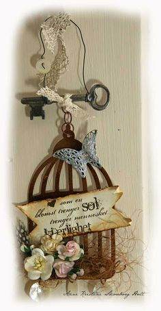 Another use of Tim Holtz' birdcage die,love the vintage look.