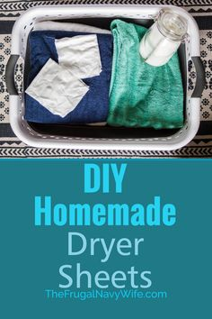 Save money on your laundry bill each month by making these easy homemade dryer sheets. Never spend money on them again and they are reusable. #thefrugalnavywife #dryersheets #frugalliving #homemade #savemoney #frugaldiy | Frugal Living Tips | Reusable Dryer Sheets | How to make Dryer Sheets | Frugal DIY | Saving Money | Homemade Dryer Sheets | Laundry Hacks | Dryer Sheet Hacks Household Cleaning Tips, Diy Cleaning Products, Cleaning Hacks, Homemade Products, Do It Yourself Projects, Do It Yourself Home, Homemade Dryer Sheets, Fun Crafts, Amazing Crafts