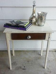 Handsome Little Side table redo w/ mercury glass knob!