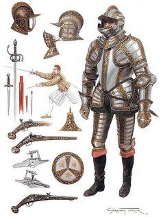 Graham Turner - Caballero inglés con armadura completa, C 1590
