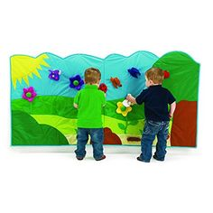 Excellerations Interactive Hanging Wall Mural, Soft Garden Design for Toddlers and Children with 14 Hook and Loop Soft Play Pieces, 6 Ft Long x 3 Ft High  #6FtLongx3FtHigh #ArtsandCraftsSupplies #DiscountSchoolSupply #ExcellerationsInteractiveHangingWallMural #SoftGardenDesignforToddlersandChildrenwith14HookandLoopSoftPlayPieces