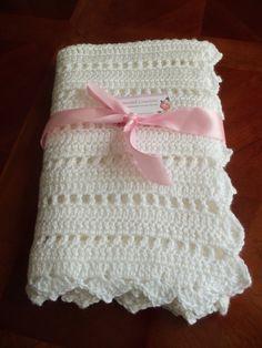 Baby Blanket White Crochet