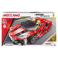Get ready to rev your engines and push the boundaries as you build your own iconic super car with the Meccano Ferrari 488 Spider Set. This authentic model vehicle set comes with 306 parts, including r