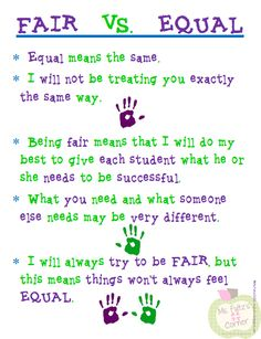 #BehaviorManagement This is an incredibly important concept for students (and adults alike!) to understand -- fair and equal are not the same thing. This anchor chart explains the concept well, but I would suggest using this as a guide to lead a discussion with your own students and have students help create their own anchor chart with examples to make their learning more meaningful.