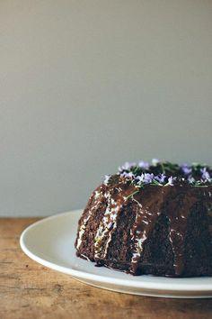 Dark Chocolate, Pear and Rosemary Cake