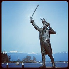 Frank Ney memorial statue Nanaimo BC-- Nanaimo has streets with unusual names... Twiggly Wiggly way, Bergen-Op-Zoom, one whole neighbourhood   is named for Sherwood Forest (Robin Hood, Friar Tuck, etc) I found out that it was this previous Nanaimo mayor that named them... Not to mention he started Nanaimo's awesome bathtub races! Very curious man, would have been interesting to meet him :)  http://en.wikipedia.org/wiki/Frank_Ney