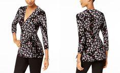 Anne Klein Printed Faux-Wrap Top - Tops - Women - Macy's