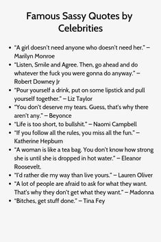 """The post """"Famous Sassy Quotes by Celebrities"""" appeared first on Pink Unicorn quotes Funny Instagram Captions For Pictures, Instagram Captions Boyfriend, Instagram Captions For Friends, Instagram Picture Quotes, Clever Instagram Captions, Sassy Quotes For Instagram, Inspirational Instagram Quotes, Instagram Caption Lyrics, Instagram Funny"""