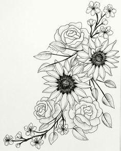 Super Blumen Tattoo Skizze Sonnenblumen 60 Ideen - Super Blumen Tattoo Skizze S. - Super Blumen Tattoo Skizze Sonnenblumen 60 Ideen – Super Blumen Tattoo Skizze Sonnenblumen 60 Id - Rose Tattoos, Leg Tattoos, Body Art Tattoos, Sleeve Tattoos, Tattoo Hip, Side Thigh Tattoos, Drawing Tattoos, Flower Thigh Tattoos, Tatoos