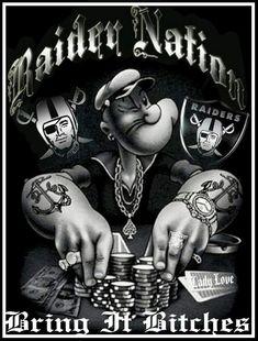 Bring it b*tches Oakland Raiders Funny, Okland Raiders, Raiders Pics, Oakland Raiders Images, Oakland Raiders Football, Raiders Baby, Raiders Tattoos, Oakland Raiders Wallpapers, Raiders Cheerleaders