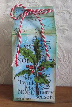 Art Journey Design-team: Melkpakje/milc carton Diy And Crafts, Om, Christmas Cards, Stamps, Merry, Journey, Packaging, Seasons, Artwork