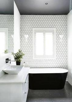 Image result for white tile grey ceiling bathroom