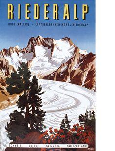 Art Swiss Alps Travel Poster Switzerland Vintage by Blivingstons Vintage Ski Posters, Vintage Prints, Wallis, Montana, Dazzle Camouflage, Swiss Travel, Cheap Places To Travel, Vintage Landscape, Swiss Alps