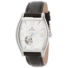 Bulova 96A144 Men's Series 160 Mechanical White Dial Dark Brown Leather Strap Watch