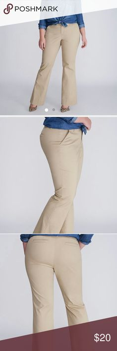 "Boot cut chino pants Casual stretch twill. Always flattering bootcut. This chino totally delivers. Dyed to match stitching. 2 slash front pockets. 2 welted back pockets. Double bar and slide and zip fly closure with inner button. Belt loops. Inseam 32"". 98% cotton 2% spandex. $69.95 tags attached. Lane Bryant Pants"