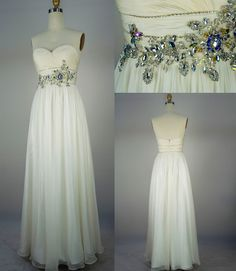Strapless Sweetheart with Beading Chiffon Long Ivory Prom Dress Bridesmaid Dress. $179.00, via Etsy.