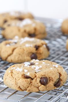 Paleo cacao nib cookies made with coconut flour and coconut sugar topped with salt - beautiful enough to be in a bakery display! #paleo #glutenfree #dairyfree #dessert http://www.foodfash.com/2015/08/23/chef-kerstin-bellahs-paleo-cacao-nib-cookies/