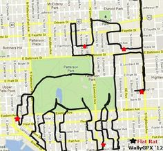GPS drawings from cycling by Christopher Wallace