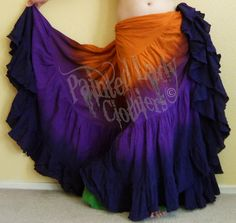"""""""All Hallows Eve"""" Gothica 25 Yard Petticoat Skirt using our Deep Orange, Imperial Purple and Black color choices.  The black will be slightly tinted by the purple and won't be a true black.  You can order yours here:  http://www.paintedladyemporium.com/Shop-Here.html"""