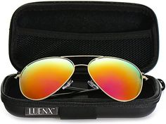 90c5373f65a Amazon.com  LUENX Aviator Sunglasses for Women Polarized Mirrored Dark Rose  Red Lens Gold Metal Frame Large 60mm  Sports   Outdoors