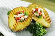 Grilled Avocado with Mediterranean Salad - Del Monte Fresh