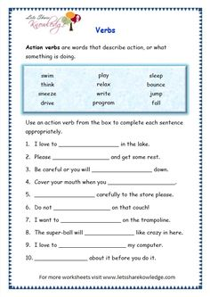 Grade 3 Grammar Topic Verbs Worksheets - Lets Share Knowledge English Grammar For Kids, Teaching English Grammar, English Worksheets For Kids, English Writing Skills, Grammar Lessons, Writing Lessons, Teaching Spanish, Unscramble Words, Rhyming Words