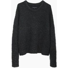 Rag & Bone Ivana Pullover ($190) ❤ liked on Polyvore featuring tops, sweaters, shirts, jumpers, long sleeve pullover shirts, ribbed sweater, green knit sweater, long sleeve knit shirts and slouchy sweater