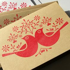 Image of 6 Hand Printed 'Birds & Berries' Christmas Cards. - lalakimmers Image of 6 Hand Pri Stamp Printing, Screen Printing, Xmas Cards, Holiday Cards, Stamp Carving, Linoprint, Fabric Painting, Encaustic Painting, Tampons