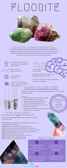 Learn all about Fluorite, its many uses and properties.  #crystalcorner #greenaventurine #goodluck #prosperity #creativity #success #chakra #buddhist #jewelry #jewellery #shop #zen #reclaimingzen #decor #home #meditation #spiritual #bohemian #mentalhealth #spiritualhealth #astrology #love #peace #happiness #teachings #learn #guidance #wicca #buddhist #spiritual
