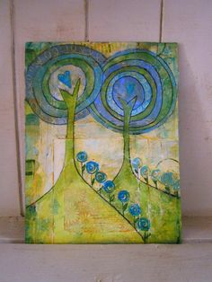 Love Trees in Green - Mixed media painting on wood and canvas panel