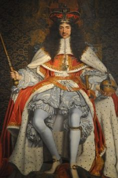 Charles II of England. Here the King wears his crown and Parliament robes with the doublet and petticoat breeches from his Garter robes.