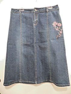 Style & Co. Woman Denim A- Line Skirt Size 12 Cotton/Spandex Floral…
