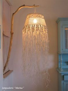 Prodigious Cool Tips: Wall Lamp Shades Etsy antique lamp shades louis comfort tiffany.Small Lamp Shades For Chandelier lamp shades drum how to make. Macrame Art, Macrame Projects, Macrame Knots, Diy Luminaire, Rustic Lamp Shades, Macrame Curtain, Lampshades, Decoration, Weaving