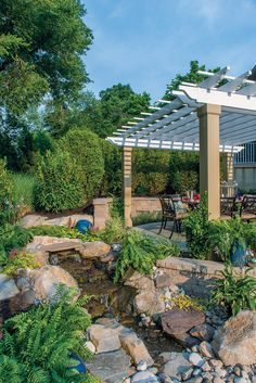 Pondless Waterfall And Pergola By Gasper