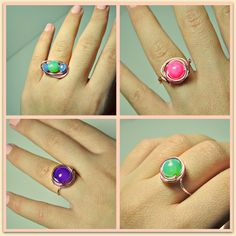 DIY wrapped wire rings....wire and beads!