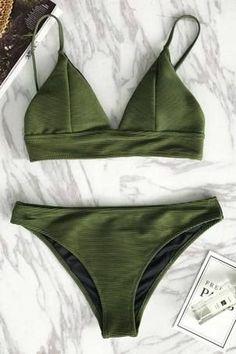 Cupshe Relaxation Exercises Solid Bikini Set #bikinis