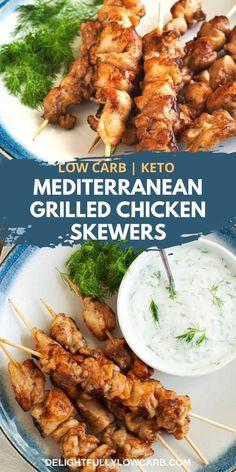 These Mediterranean Chicken Skewers are a simple and delicious way to enjoy flavorful grilled chicken kebabs that are low carb and keto friendly. | Chicken Recipe | Keto Recipe | Low Carb Recipe | Main Dish Recipe | #recipe #chicken #keto #lowcarb Indian Chicken Recipes, Chicken Parmesan Recipes, Recipe Chicken, Best Low Carb Recipes, Keto Recipes, Lunch Recipes, Dinner Recipes, Recipe Recipe, Recipe Ideas