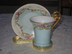 Antique Limoges T & V France Hand Painted Demi Tea Cup Saucer Pink Roses Gold Tr