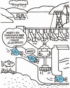 1000 images about stem hydropower keep on turning on for Electricity coloring pages