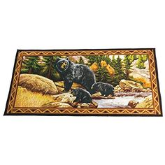 Collections Etc Northwoods Bear Wilderness Rug -- Click here for more details @…