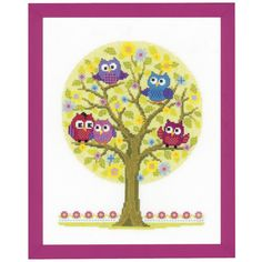 Cute Little Owls Tree - Cross Stitch, Needlepoint, Stitchery, and Embroidery Kits, Projects, and Needlecraft Tools | Stitchery