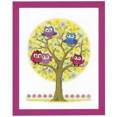Cute Little Owls Tree - Cross Stitch, Needlepoint, Stitchery, and Embroidery Kits, Projects, and Needlecraft Tools | Stitchery