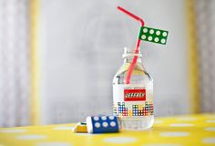 You can even make water bottles exciting with personalized labels. | How To Throw The Ultimate LEGO Birthday Party