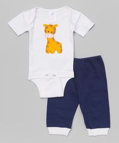 Look what I found on #zulily! White Giraffe Bodysuit & Navy Pants by tiny bundles #zulilyfinds
