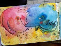 Apaixonados In love  Tcnica Technique AquarelaWatercolorNanquimInk Lpis de corColored pencil