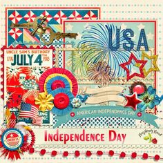 A patriotic themed mini kit freebie designed to coordinate with the Independence Day scrapbook collection.