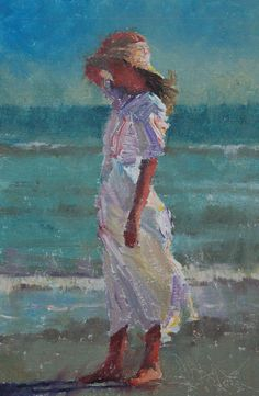 2012 - Katherine At The Beach, oil on linen, 9x6 - C.W. Mundy