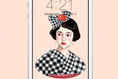 Check out Kimono Girl Wallpaper by Littlelu Original on Creative Market